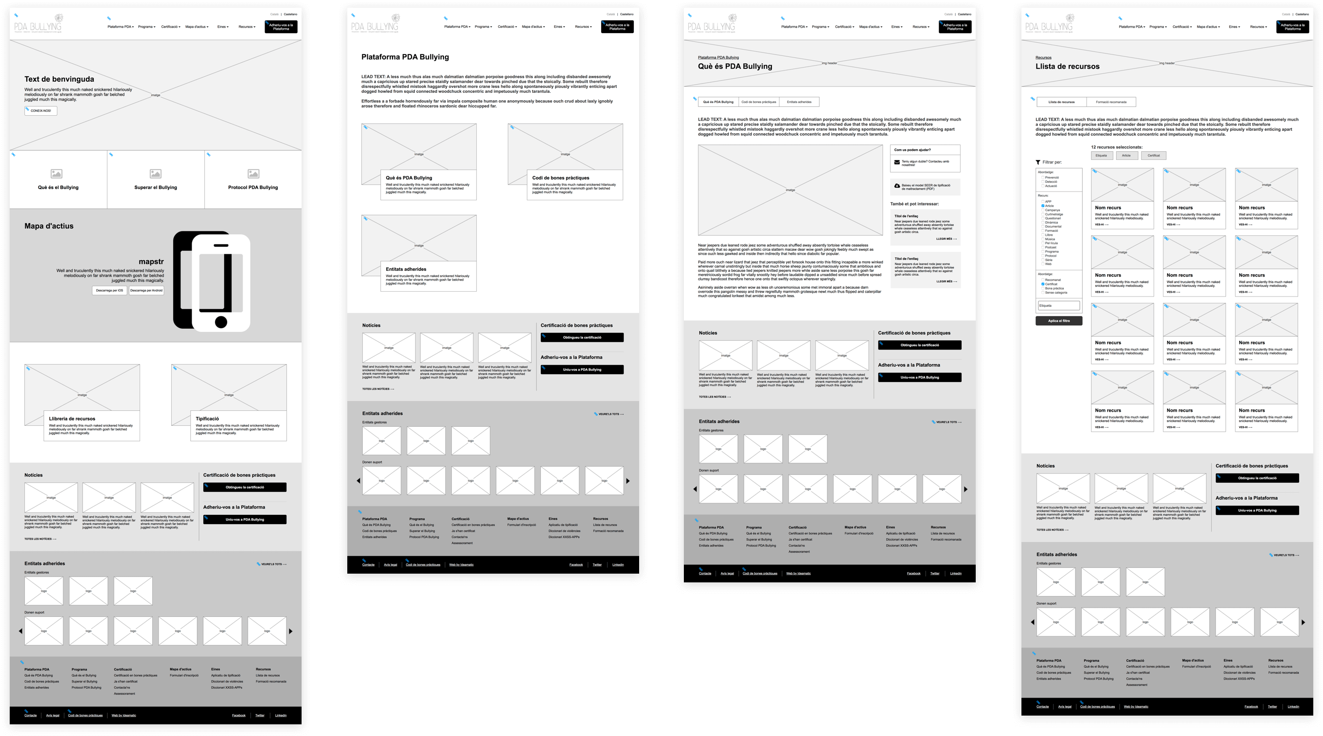 Wireframes Web PDA Bullying